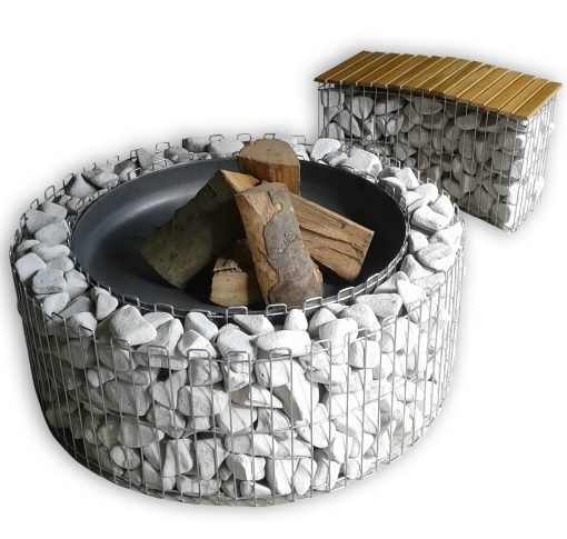 Fireplace with wood and a gabion bench